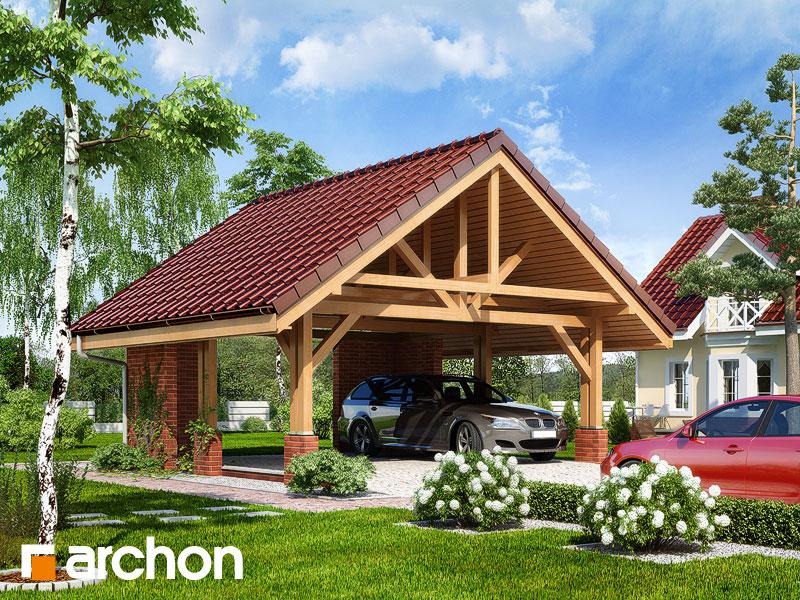 gotowy projekt Wiata garażowa W1 widok 1