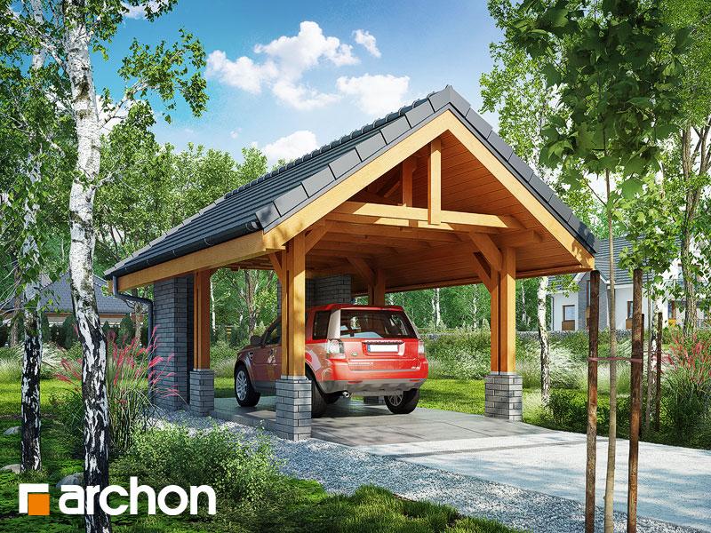 gotowy projekt Wiata garażowa W2 widok 1