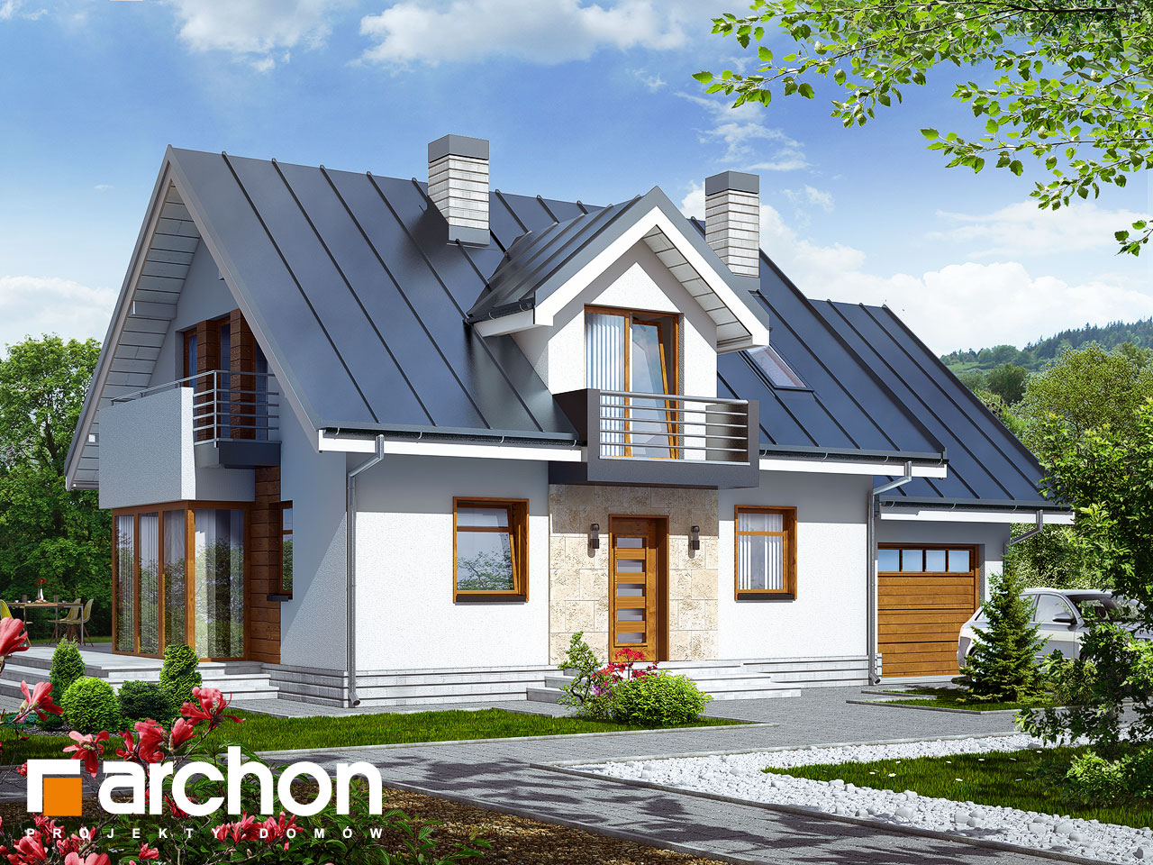 projekt domu dom w rododendronach 6 n archon. Black Bedroom Furniture Sets. Home Design Ideas