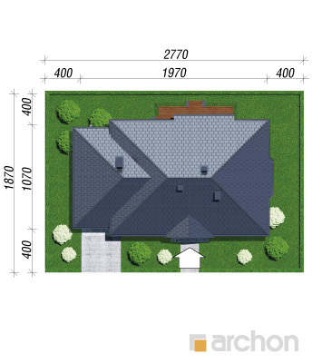 projekt Dom w gaurach (N) sytuacja