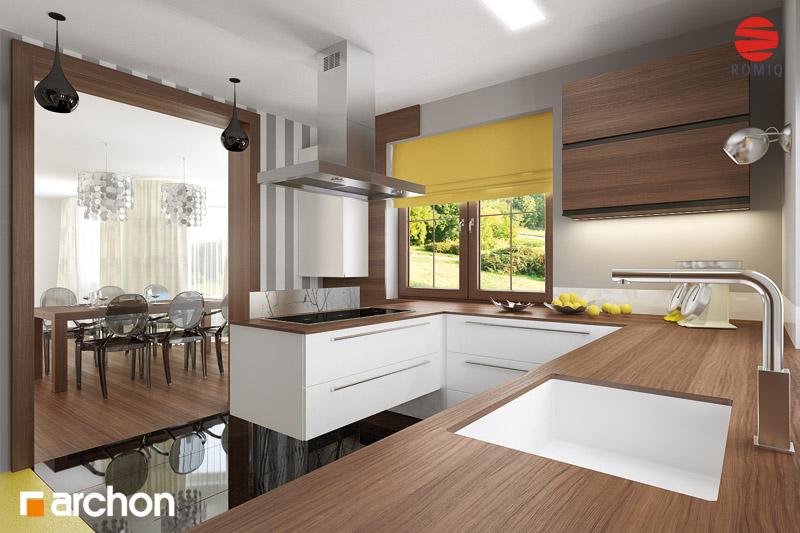 Aranżacje kuchni do projektów domów  ARCHON+  strona 9 -> Biala Kuchnia Uchwyty Frezowane