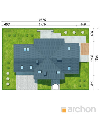 projekt Dom w pomelo (P) sytuacja