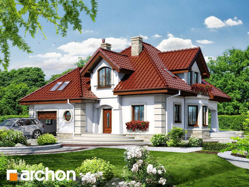 gotowy projekt Dom pod tujami widok 1