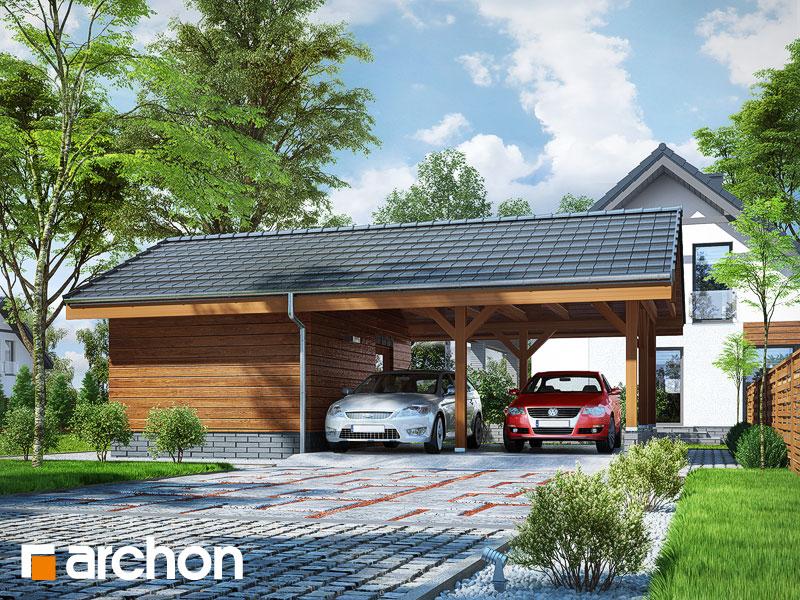 gotowy projekt Wiata garażowa W3 widok 1