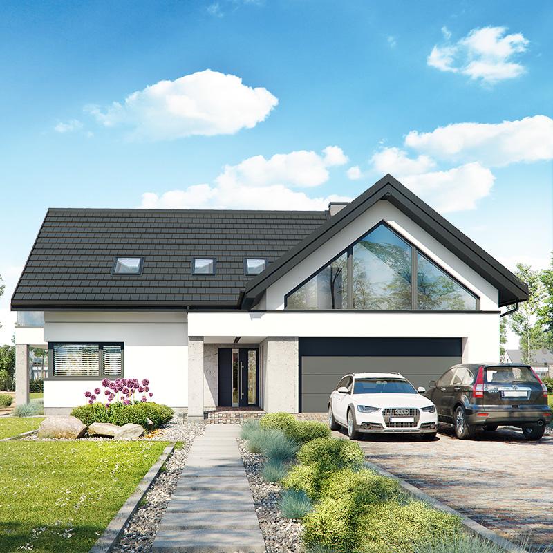 gotowy projekt Dom w felicjach 2 (G2E) OZE widok 2