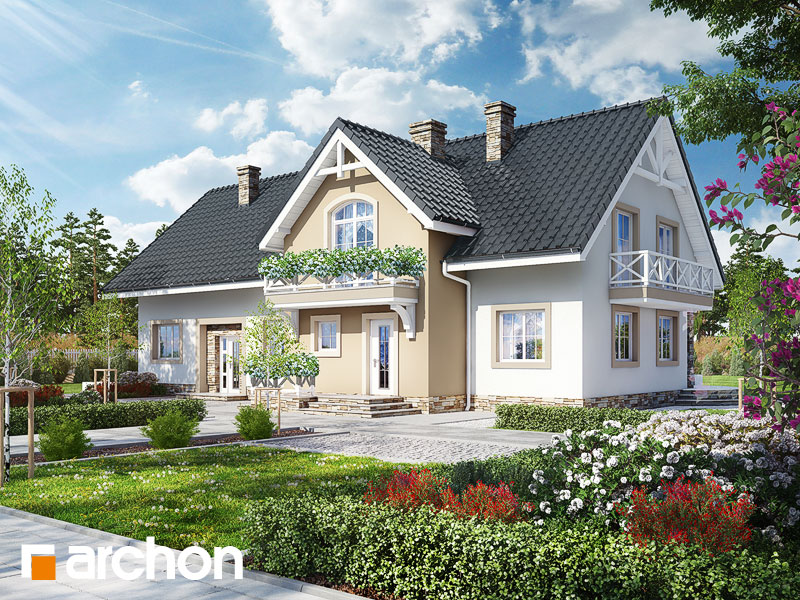 gotowy projekt Dom przy fontannie widok 1